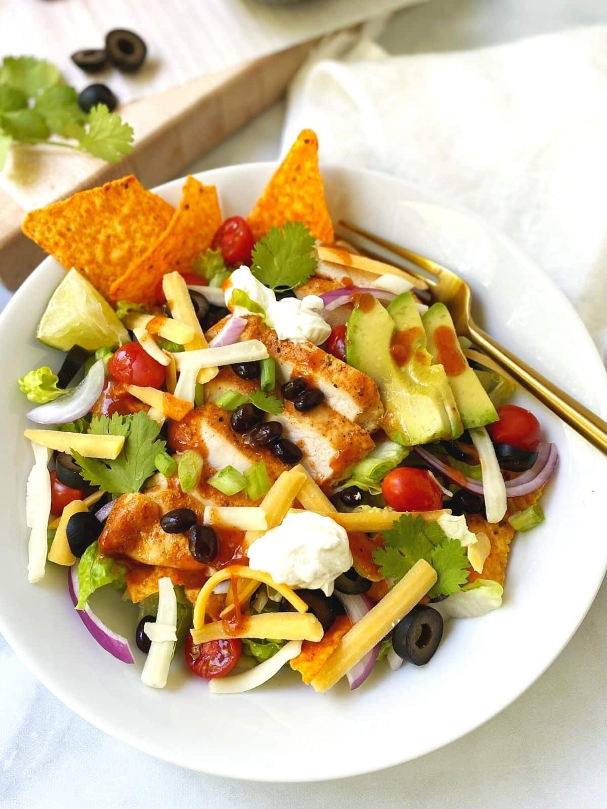 white bowl of taco salad