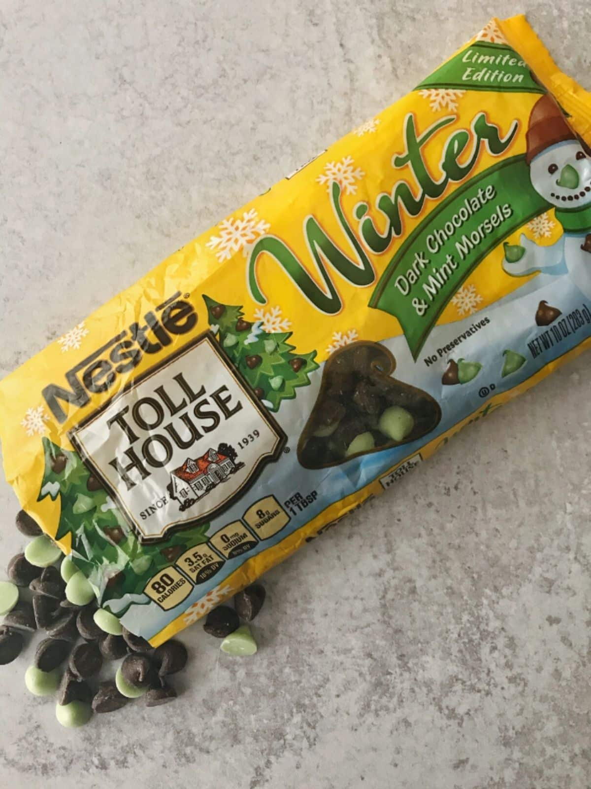 bag of dark chocolate and mint morsels