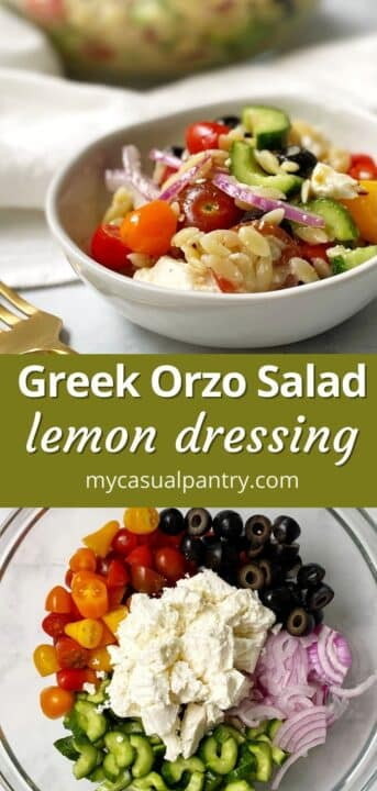 bowl of orzo salad and a mixing bowl with salad ingredients