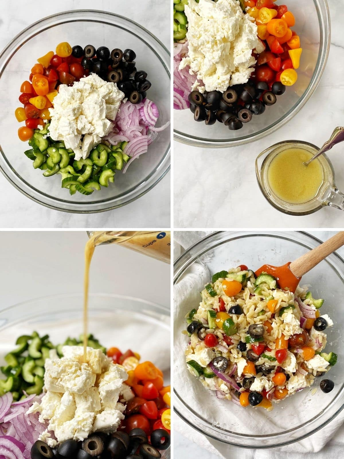 bowl of ingredients, cup of dressing next to bowl of ingredients, pouring the dressing over the salad, and a bowl of the salad mixed together