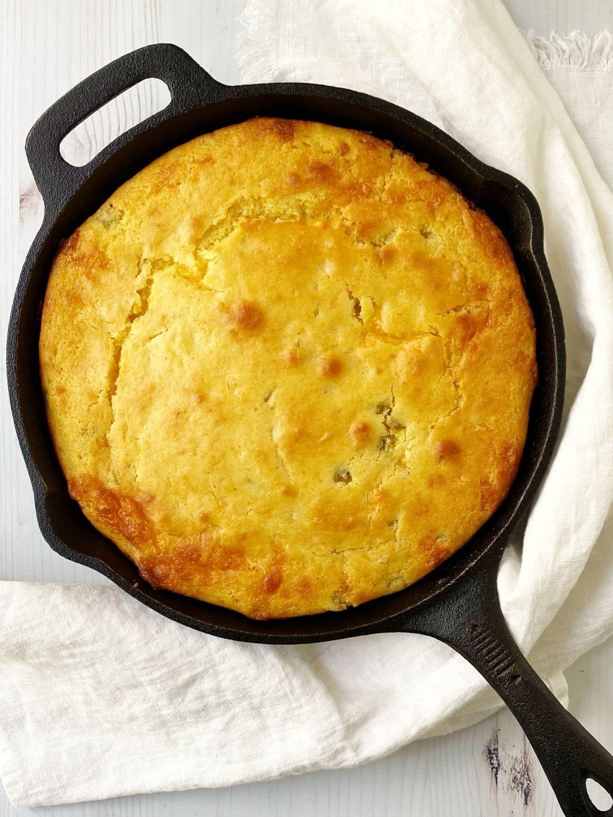 skillet of baked cornbread