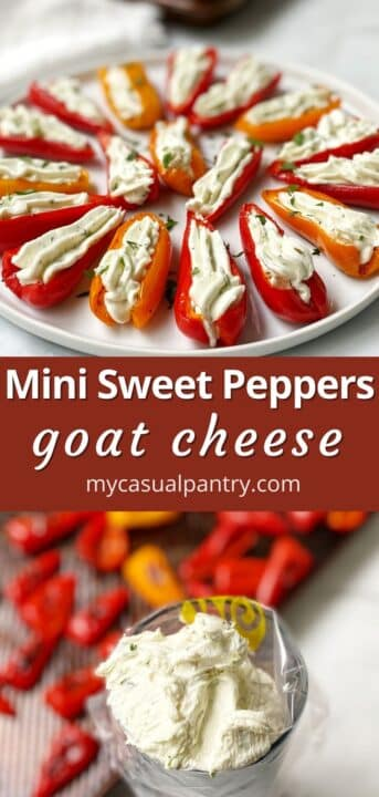 white plate of stuffed peppers and piping bag filled with goat cheese mixture next to the pan of roasted peppers