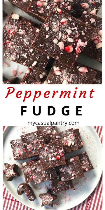 sliced peppermint fudge on a plate