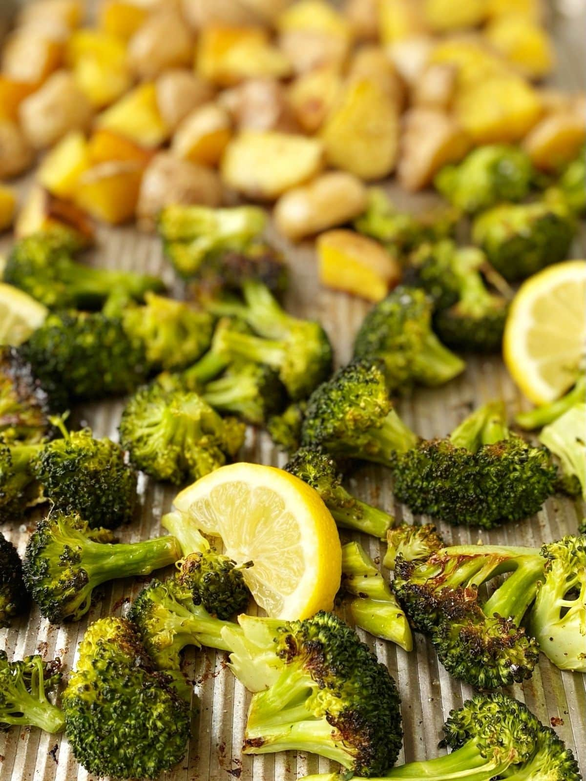 close up of roasted broccoli