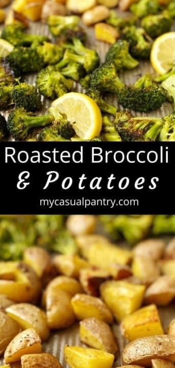 sheet pan of roasted potatoes and broccoli