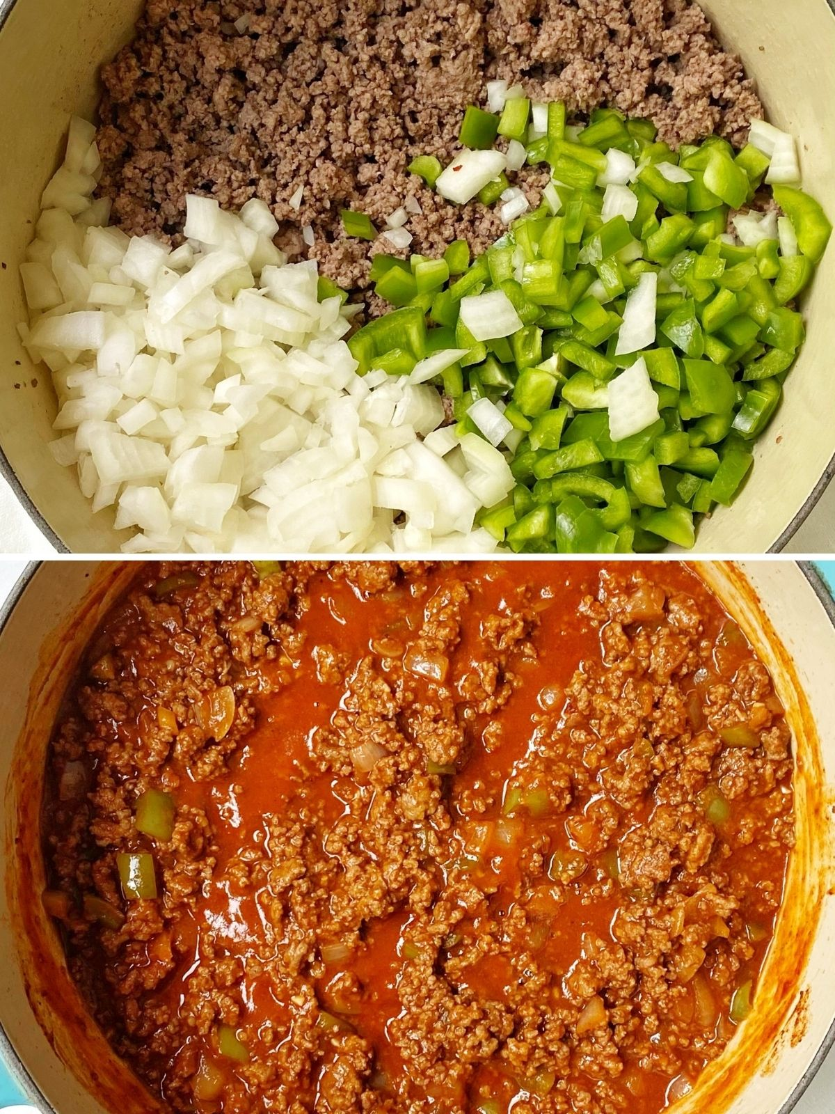 pot of browned ground beef with onions and peppers added and a pot with the sauce ingredients stirred in