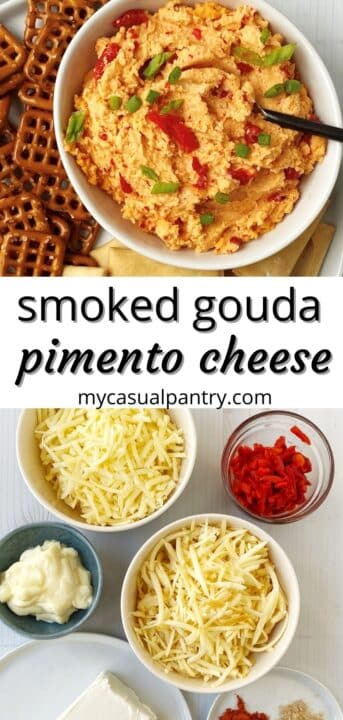 dish of pimento cheese and bowls of ingredients