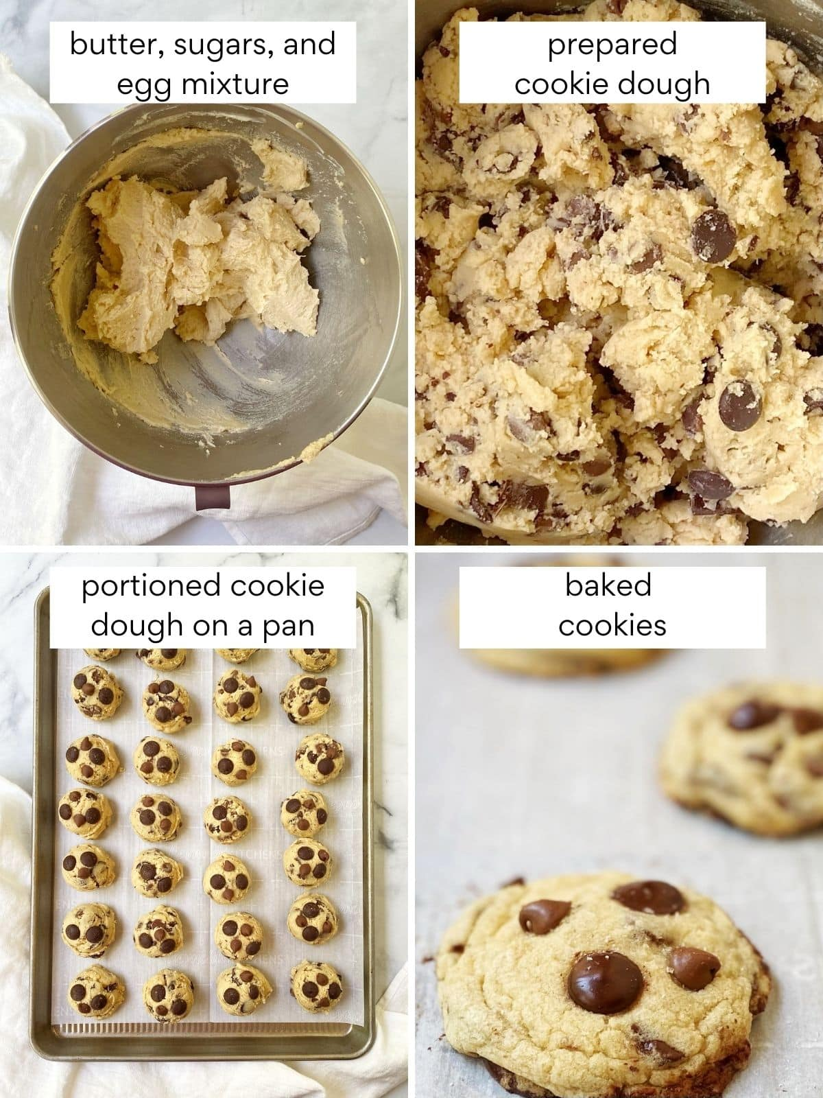 process photos: butter, sugar, eggs creamed togehter, prepared dough, dough portioned onto a baking sheet, and baked cookies on a sheet pan
