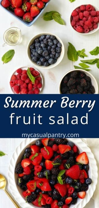 assortment of berries and a white dish filled with summer berry fruit salad.