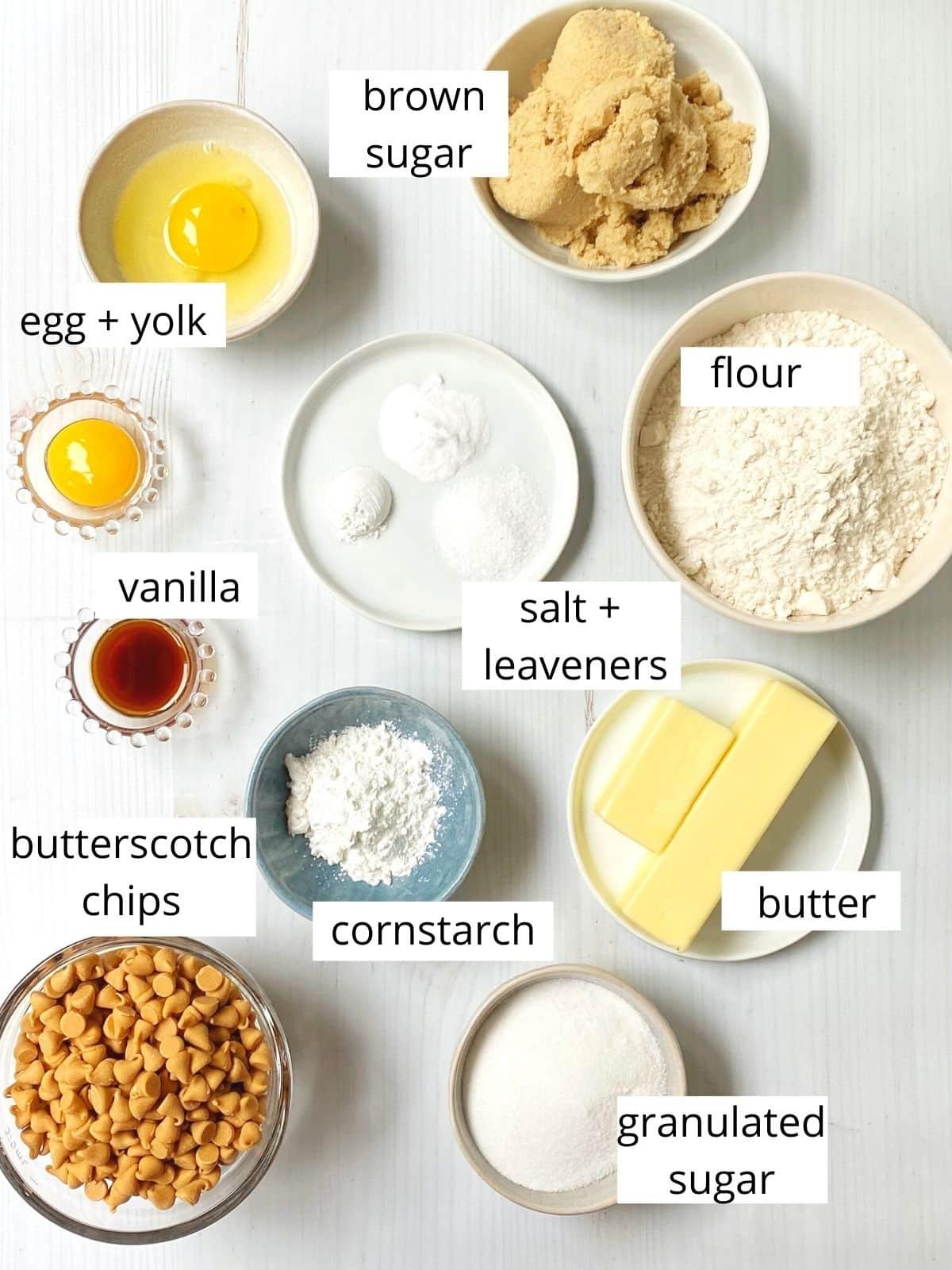 cookie dough ingredients - flour, sugars, butter, eggs, cornstarch, salt, leaveners, vanilla, butterscotch chips