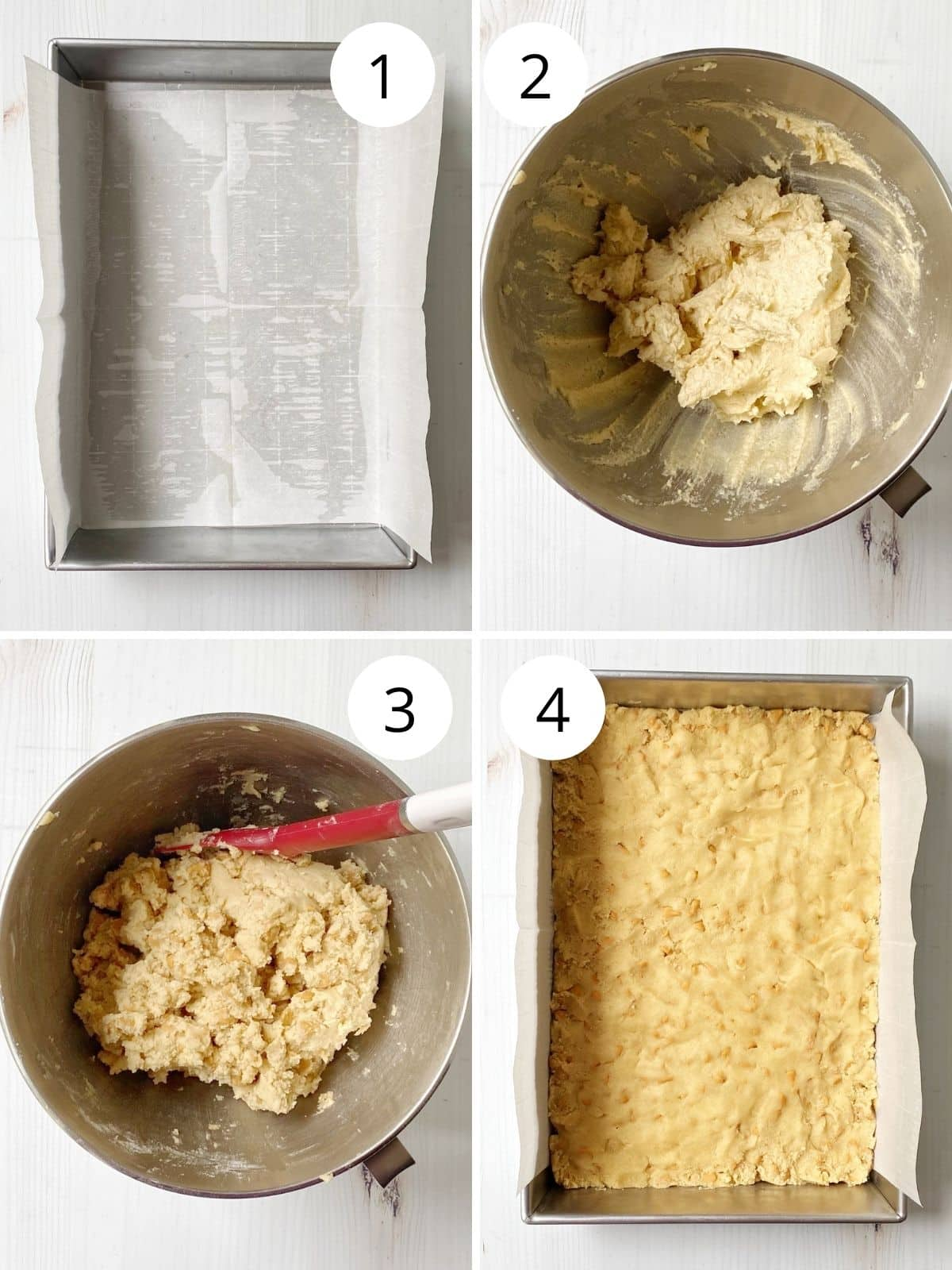 prepared cake pan, butter, sugar and eggs mixed together, prepared cookie dough, and dough pressed into pan