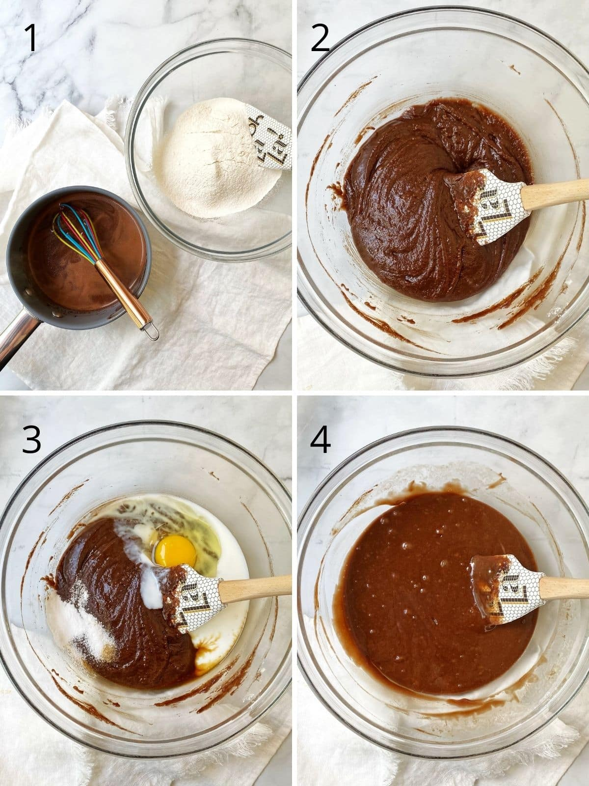 bowl of flour and sugar and a saucepan of butter, oil melted with cocoa powder, bowl of flour and butter mixture mixed together, bowl with eggs and buttermilk added, and bowl of prepared batter