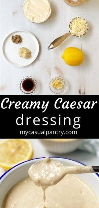 bowl of dressing and recipe ingredients featuring mayo, parmesan, lemon, seasonings.