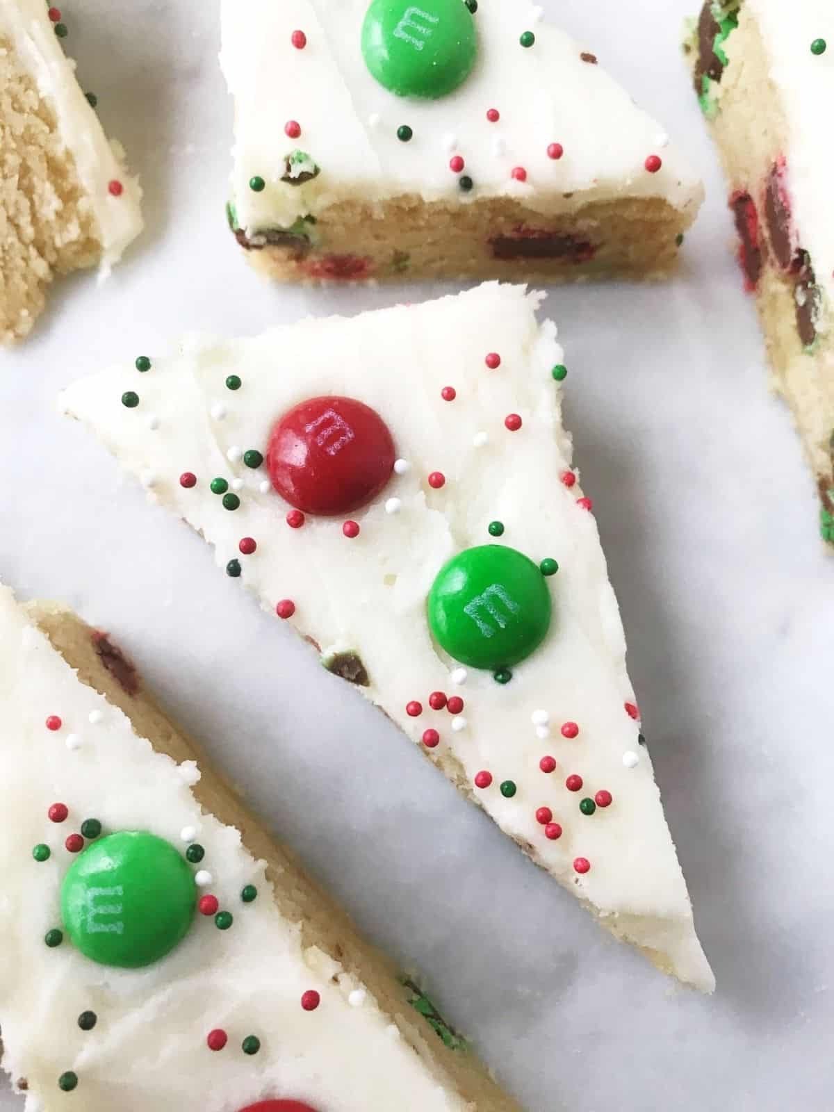 close up of cookie bar on serving platter