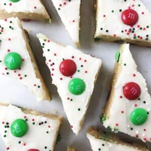 triangular sliced bars decorated with M&M's