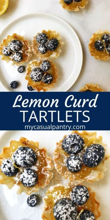 overhead shot of three tarts on a plate and a close up of tarts on a white plate