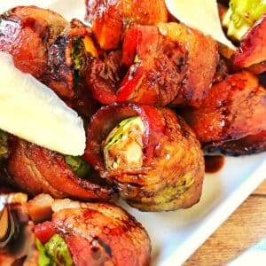 platter of bacon-wrapped brussels sprouts.