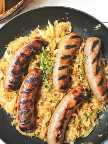 skillet of brats and kraut.