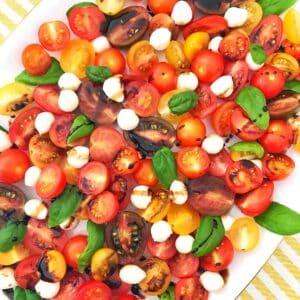 platter of caprese salad.