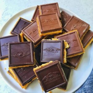 plate of toffee squares.