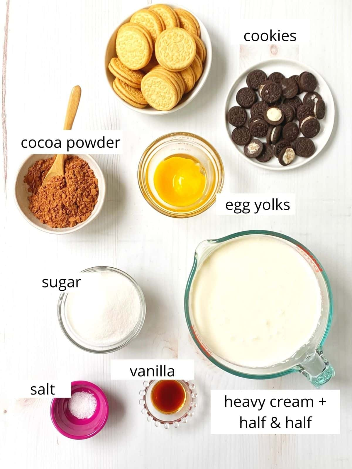ingredients in ice cream featuring cream, sugar, and oreo cookies.