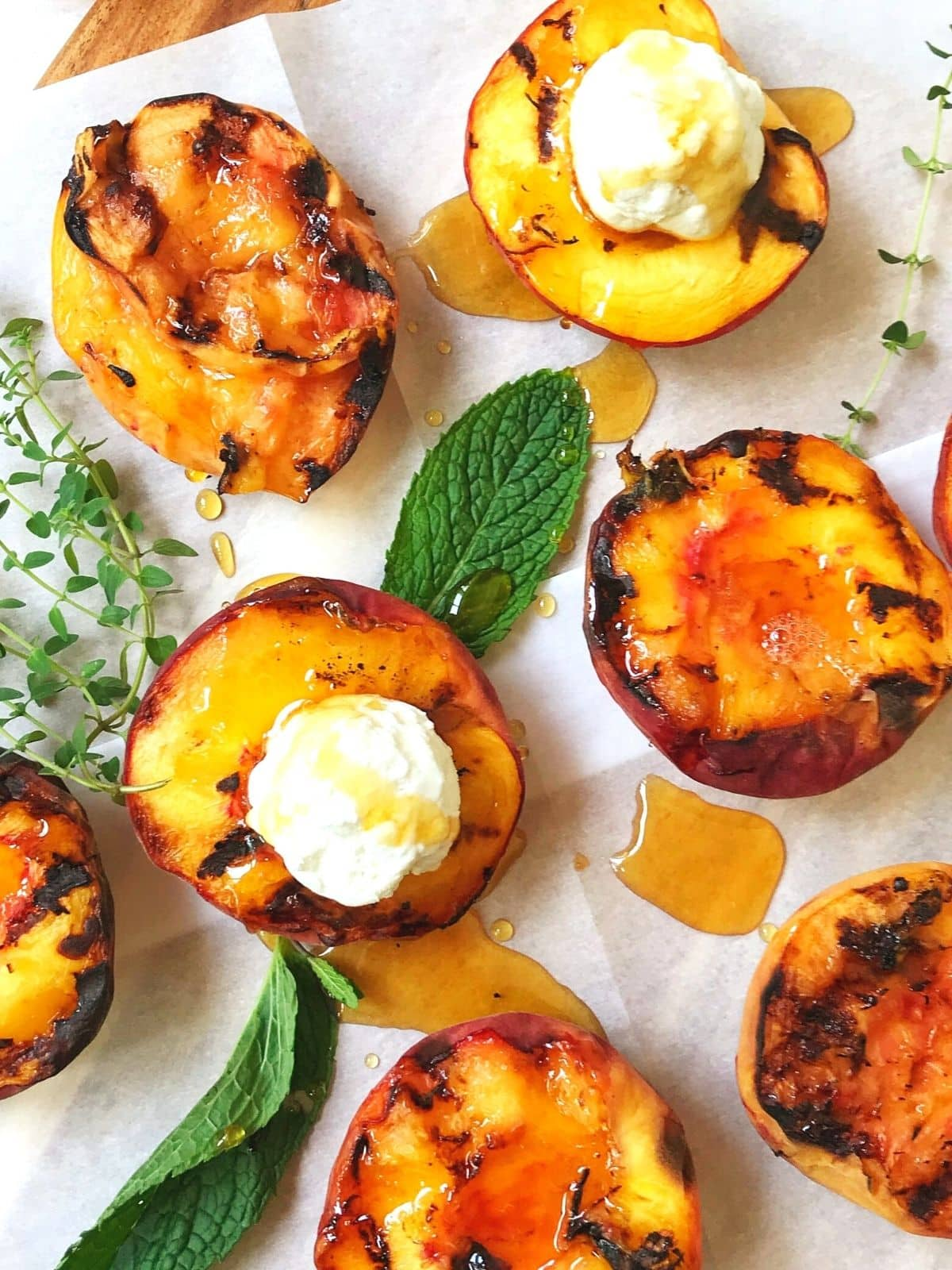 peaches garnished with goat cheese and honey.
