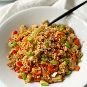 close up of pork fried rice wo eggs in bowl