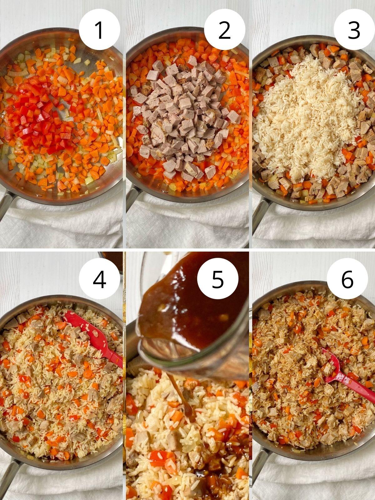 pork fried rice process