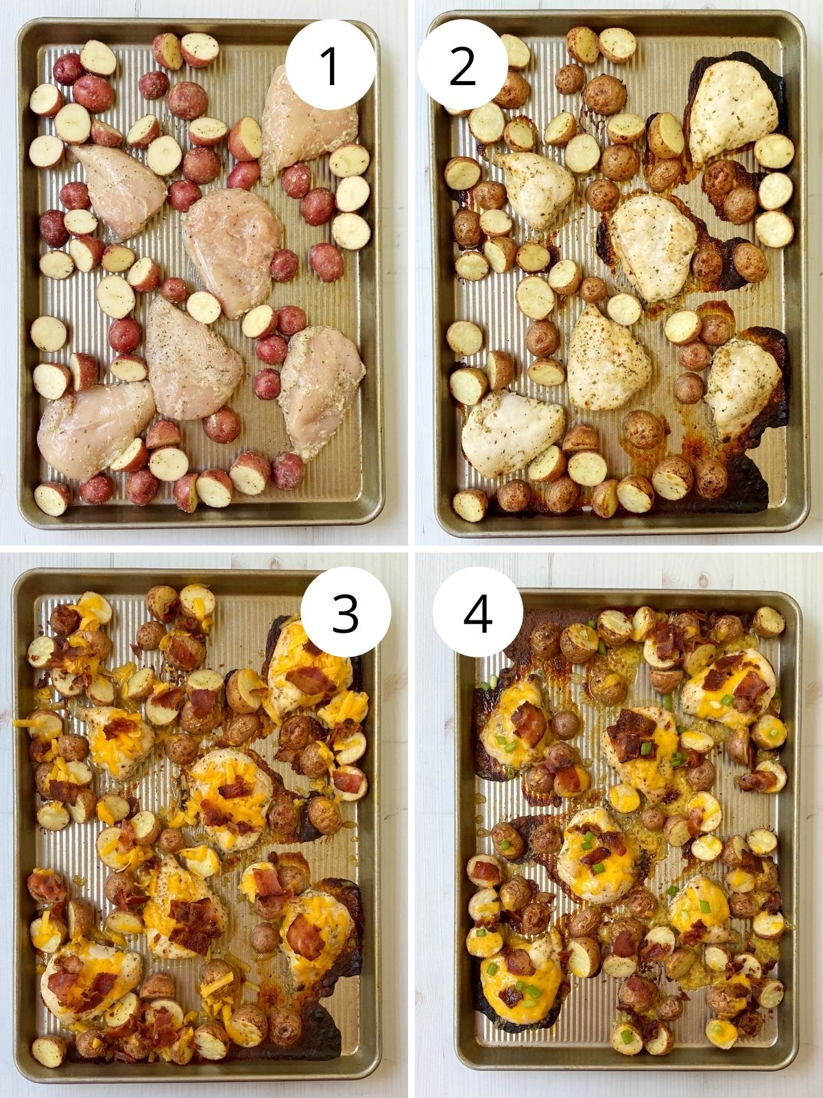cooking chicken and potatoes on sheet pan.