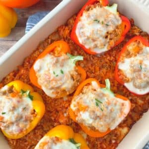 turkey sausage stuffed bell peppers.