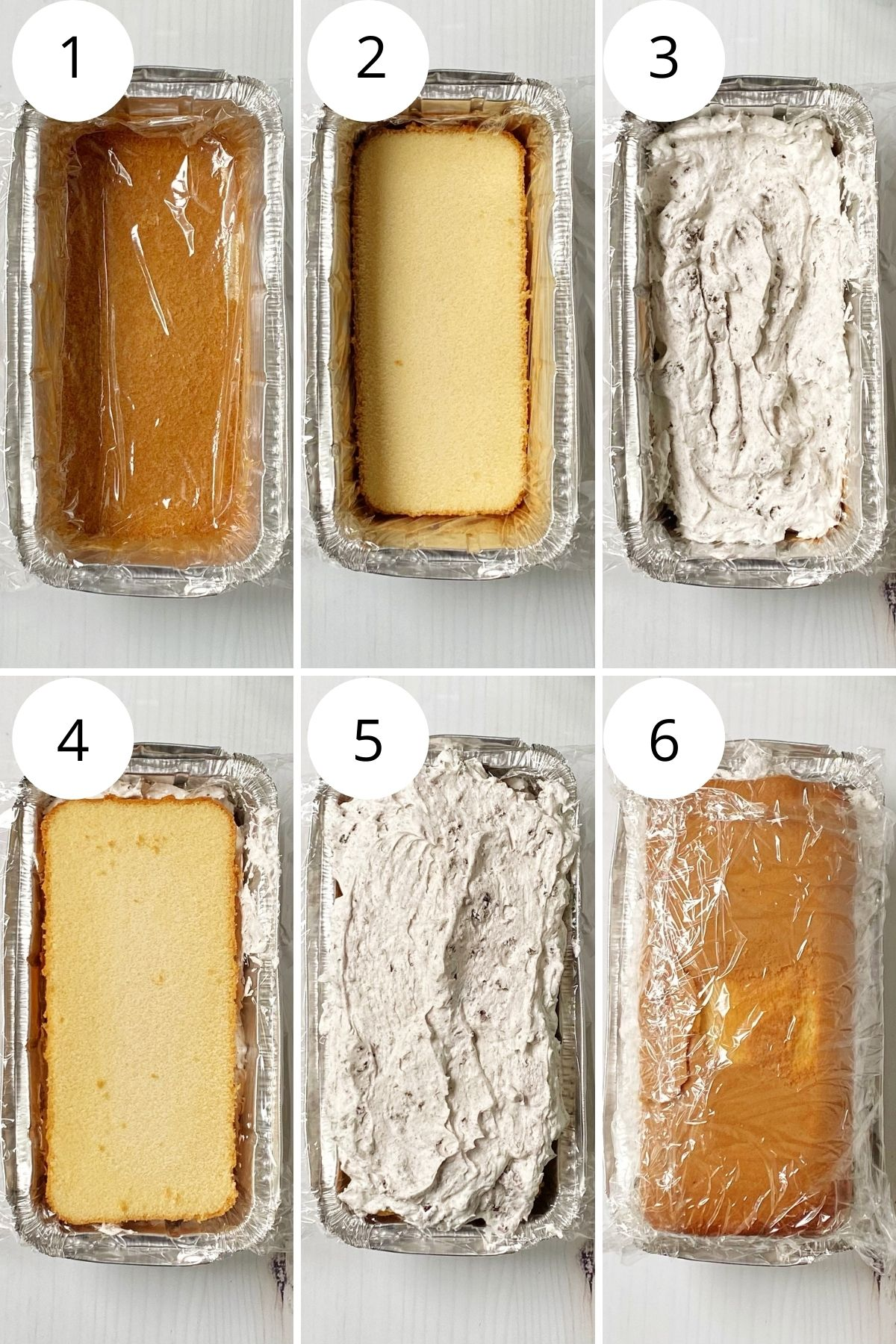 layering the pound cake with whipped topping