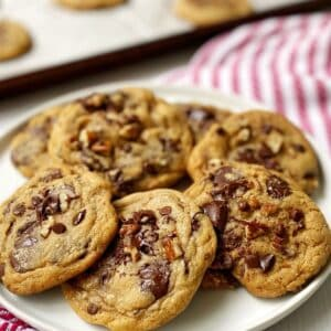 close up of dark chocolate chip cookies on a plate.
