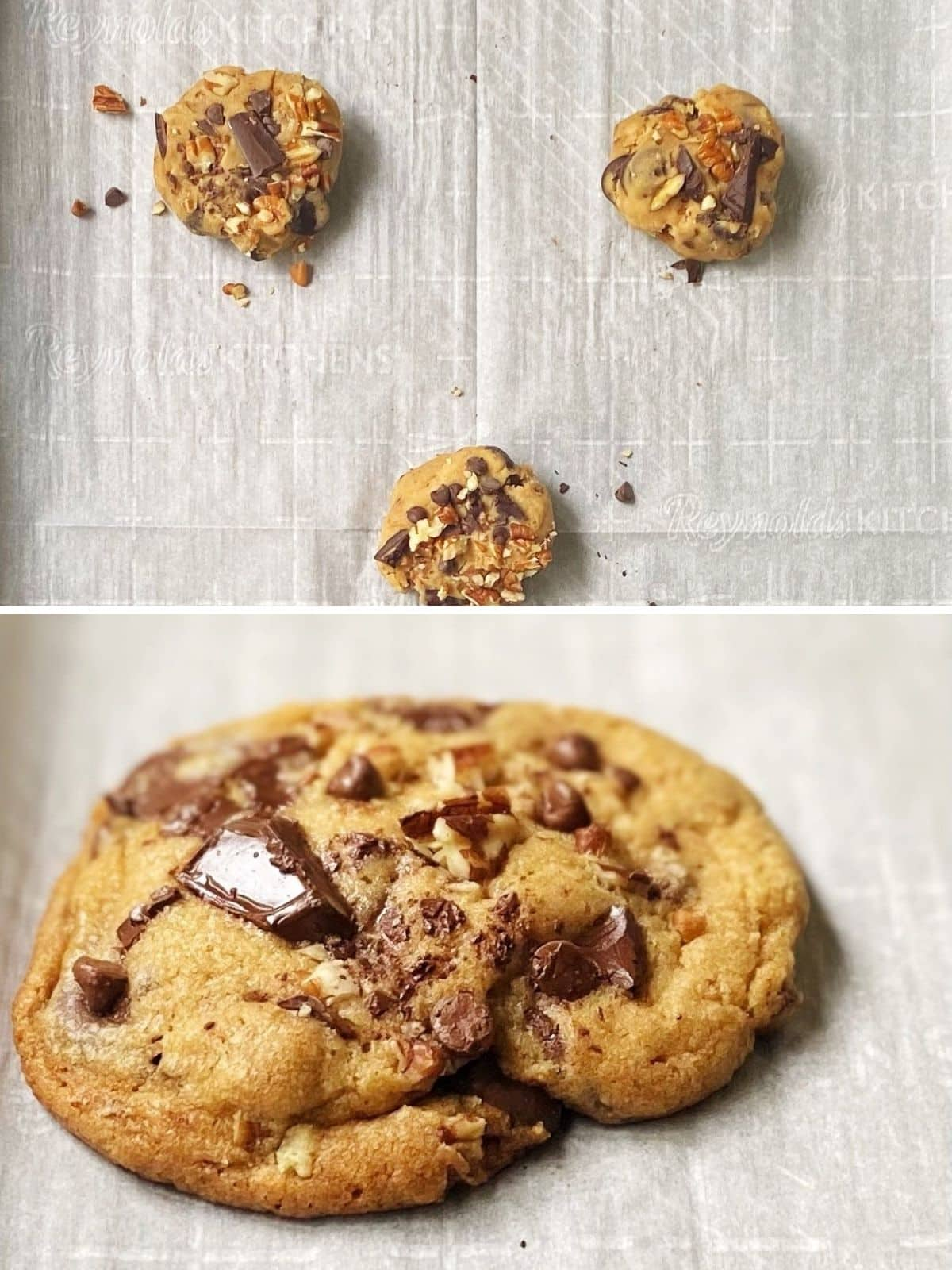 unbaked and baked cookie on baking sheet.