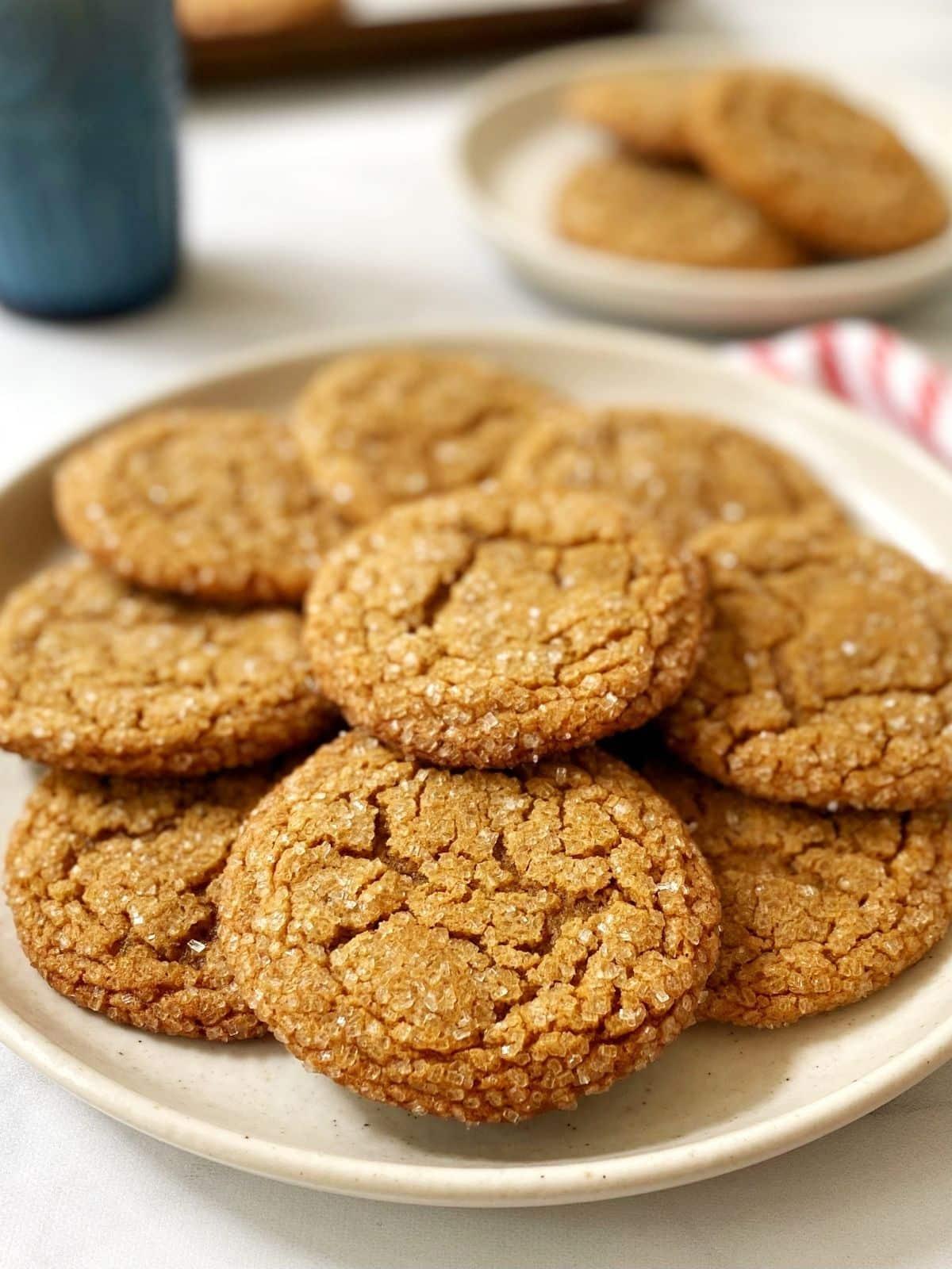 plate of ginger crinkle cookies.