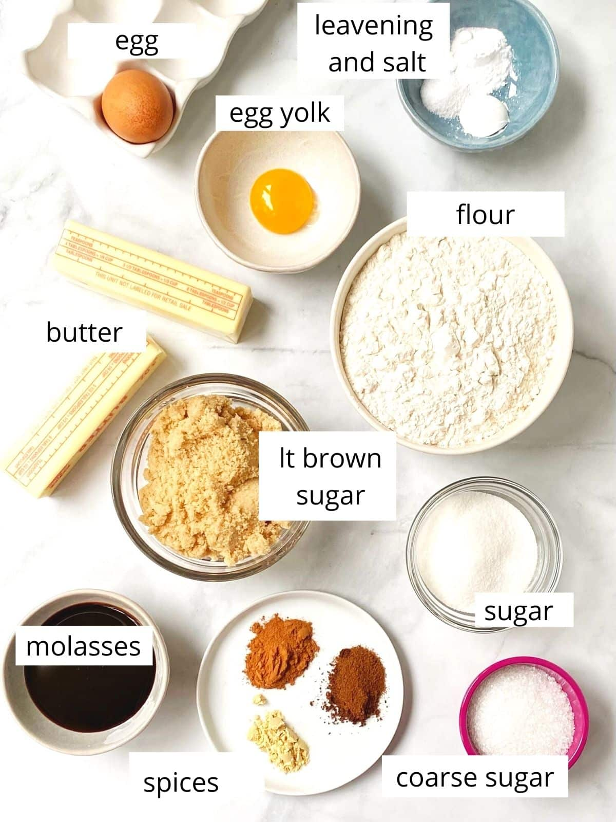 ingredients for ginger crinkle cookies.