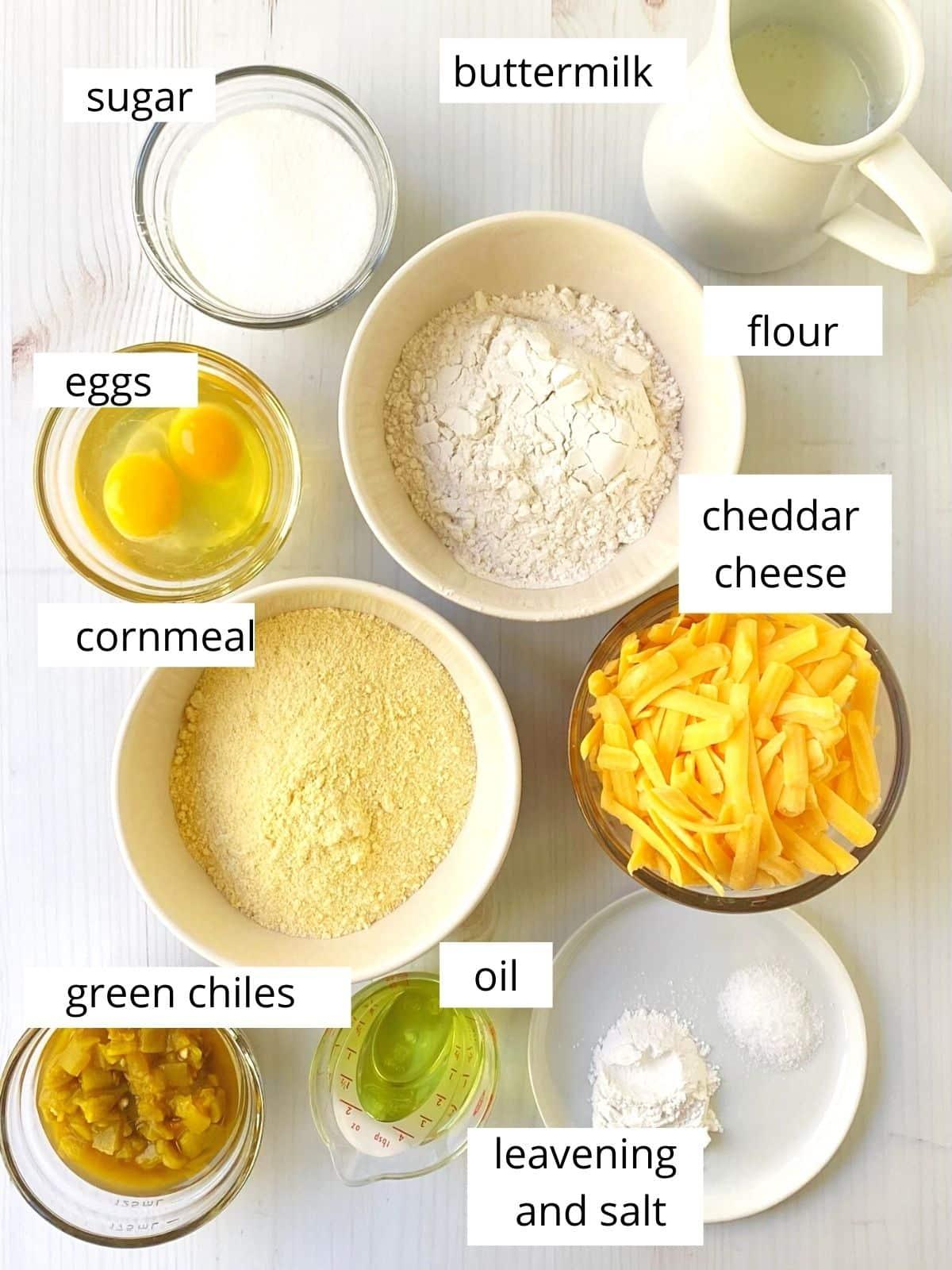 green chile cheddar cornbread ingredients.