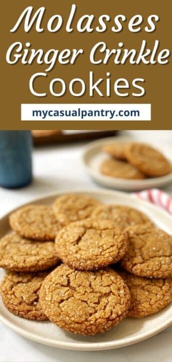plate of ginger crinkle cookies