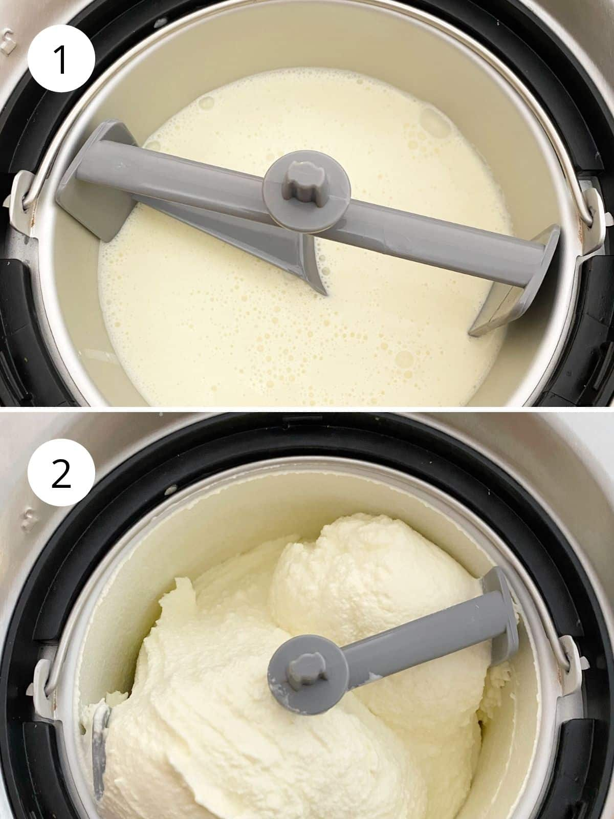 ice cream base before and after churning.