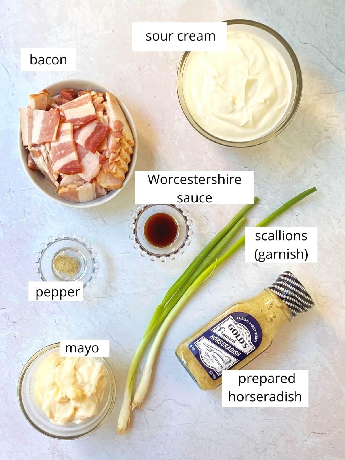 ingredients for bacon horseradish dip