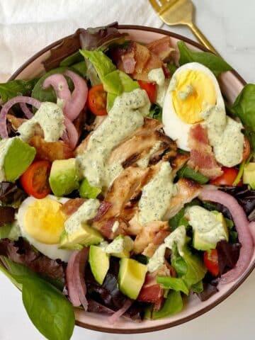 close up of Panera green goddess cobb salad.