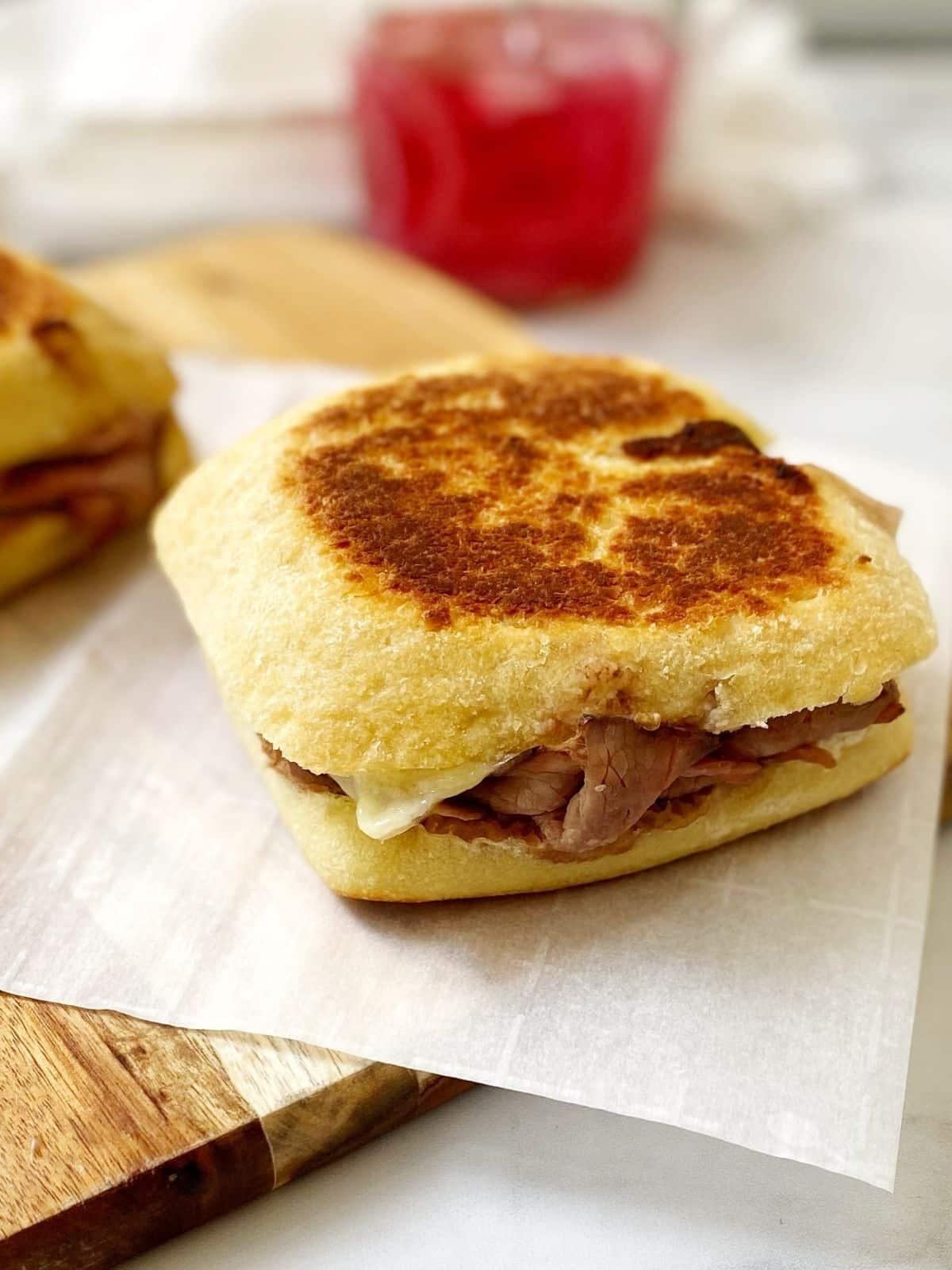 steak and white cheddar sandwich.