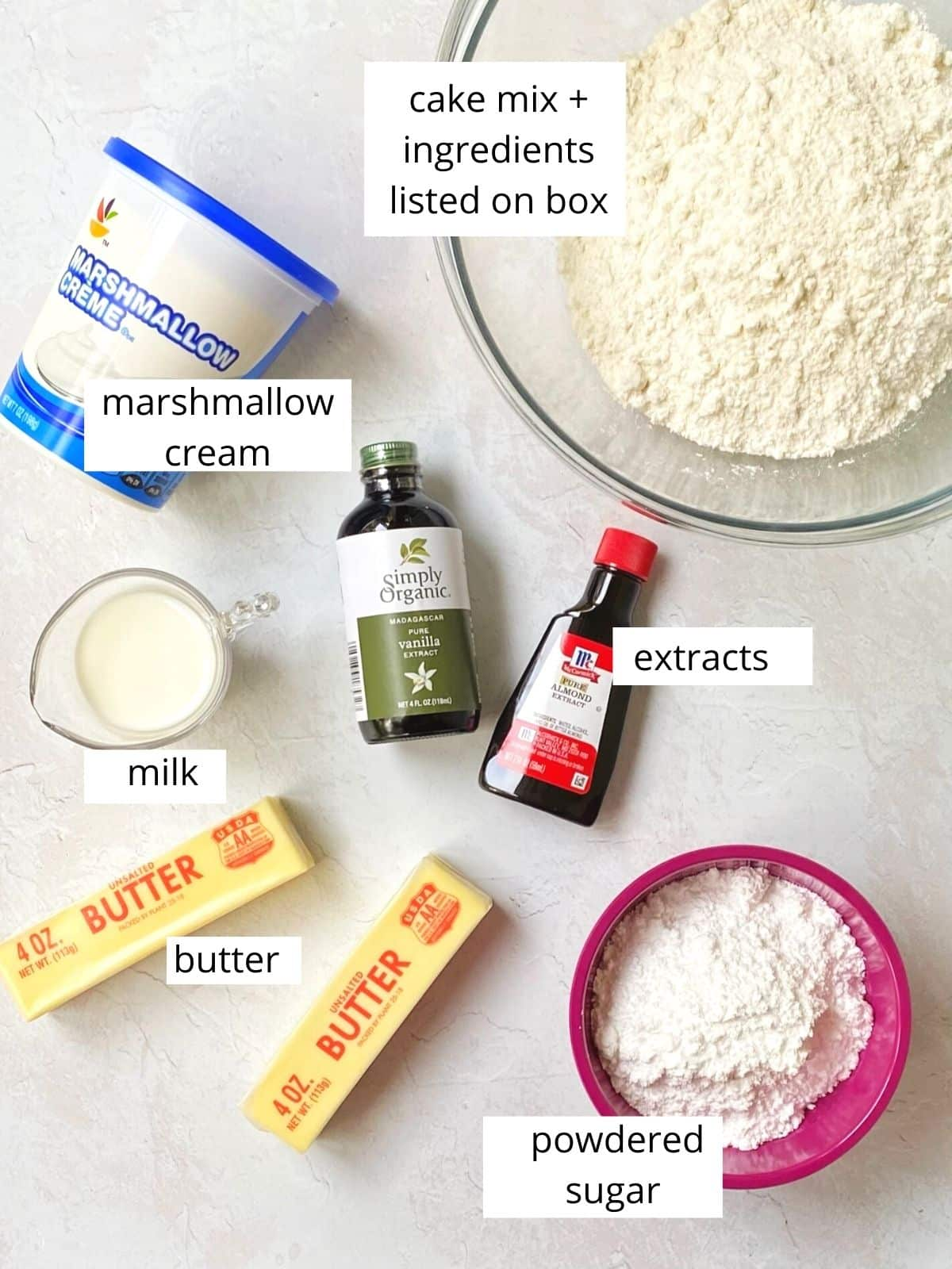 ingredients for vanilla almond cake.