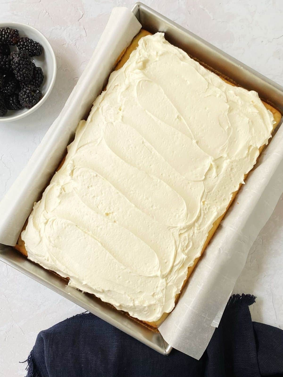 frosted vanilla almond cake.