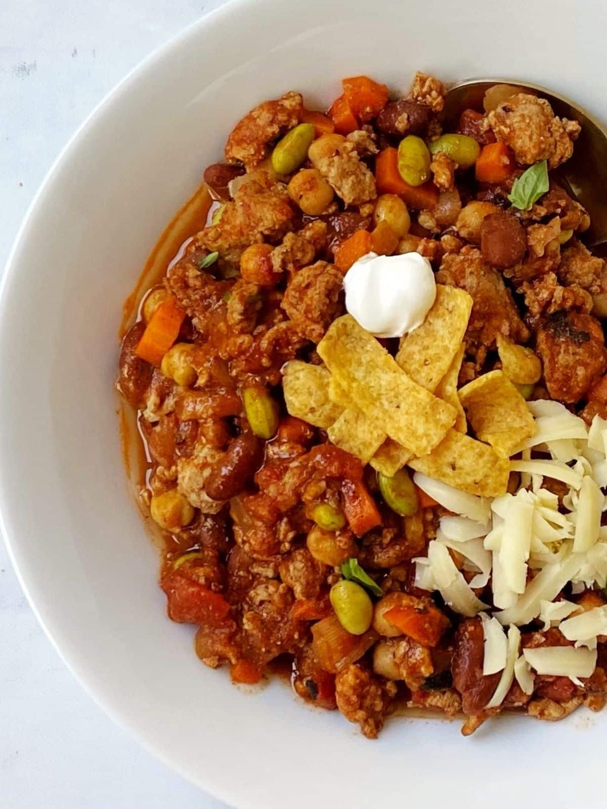 top down shot of bowl of chili.