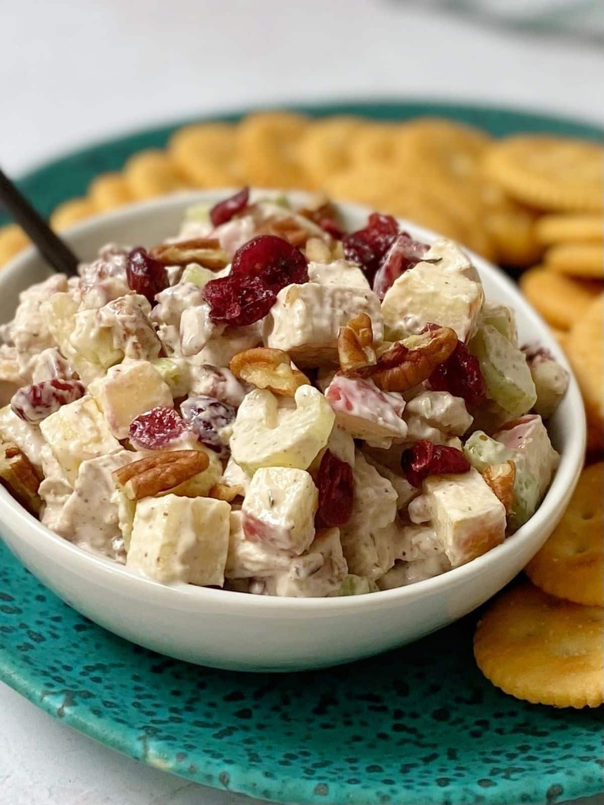 cranberry chicken salad with crackers.