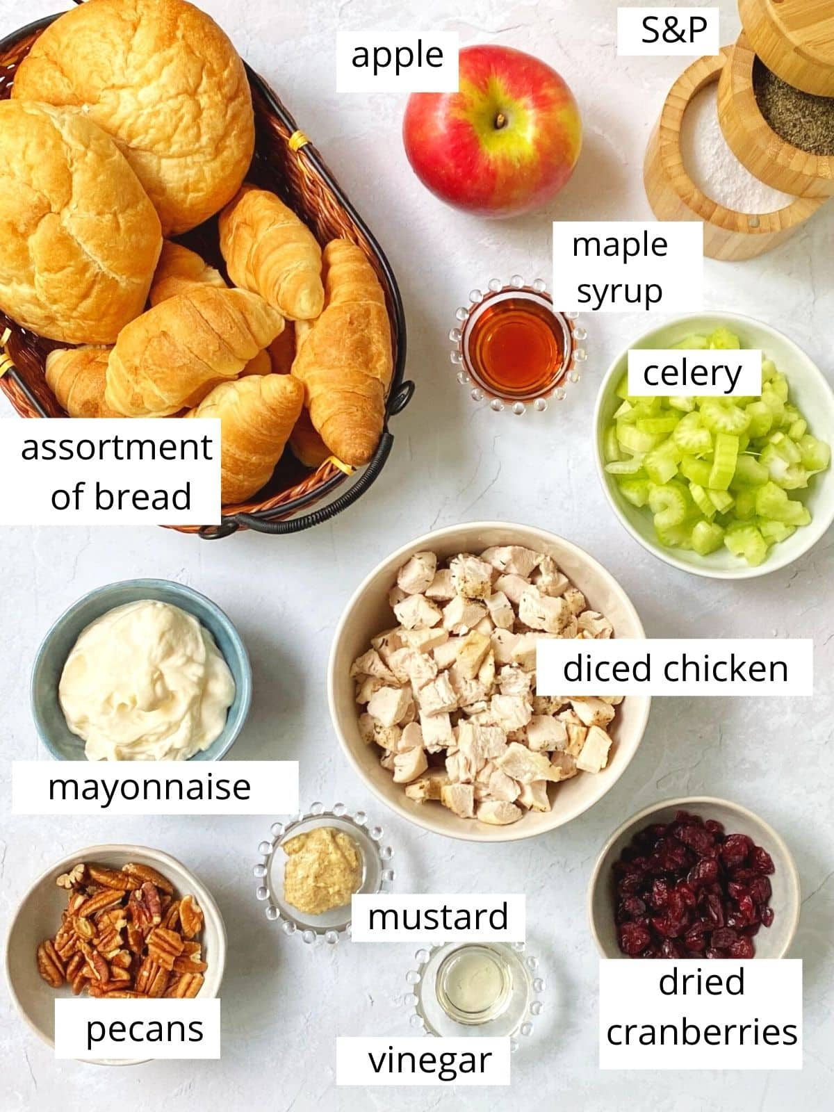 ingredients for chicken salad.