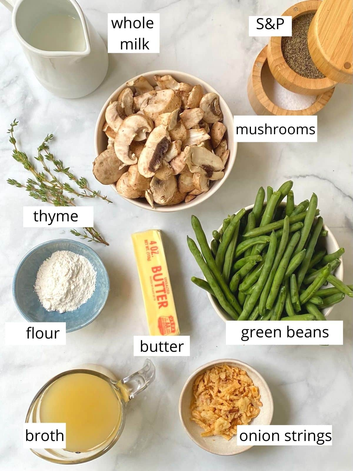 ingredients for green bean casserole.
