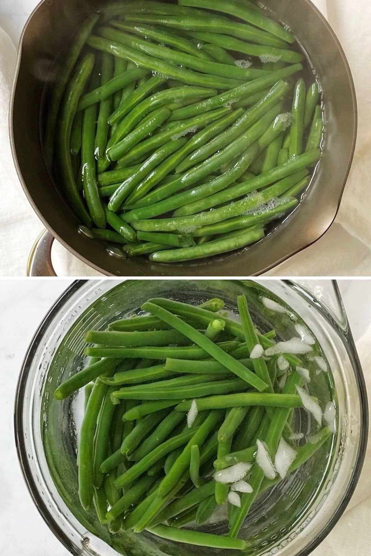 blanching beans and cooling them in ice water.